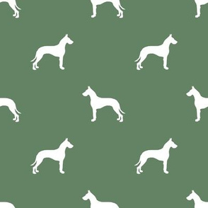 Great Dane silhouette dog fabric med green