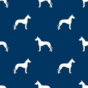 Great Dane silhouette dog fabric navy