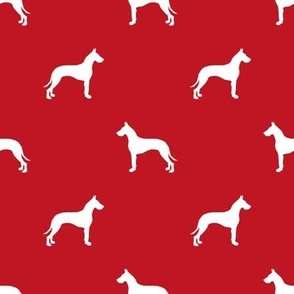 Great Dane silhouette dog fabric red