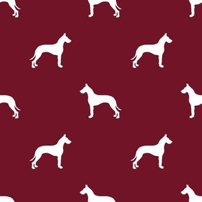 Great Dane silhouette dog fabric ruby