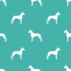Great Dane silhouette dog fabric turquoise