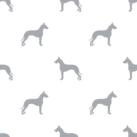 Great Dane silhouette dog fabric white grey fabric by petfriendly on Spoonflower - custom fabric