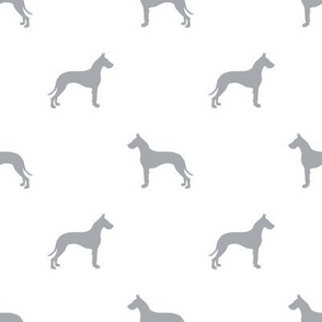 Great Dane silhouette dog fabric white grey