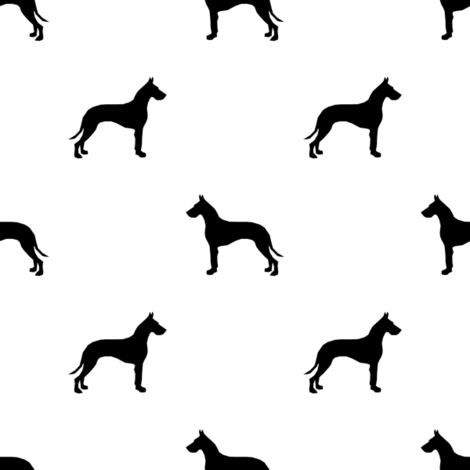 Great Dane silhouette dog fabric white fabric by petfriendly on Spoonflower - custom fabric