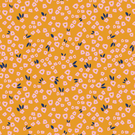 Poppy patches in mustard fabric by lburleighdesigns on Spoonflower - custom fabric