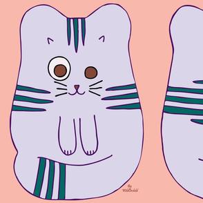 Cute Purple Cat Doll Cut and Sew Pattern Fabric
