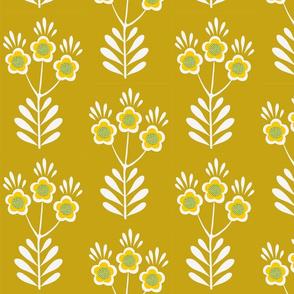 Folk Art Sun Flower on Gold