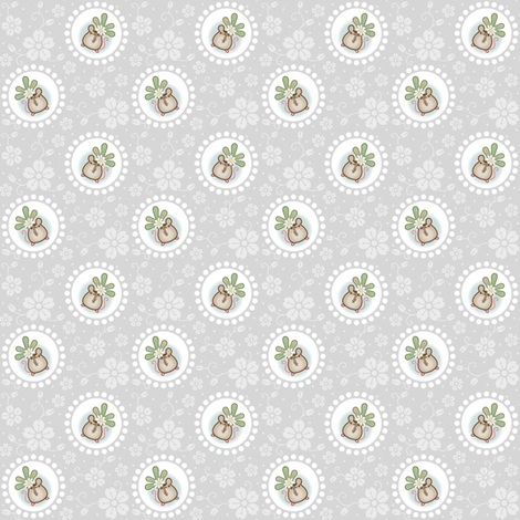 Wind Flower Mouse Grey fabric by woodmouse&bobbit on Spoonflower - custom fabric