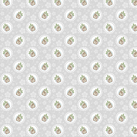 Wind Flower Mouse Grey ditsy fabric by woodmouse&bobbit on Spoonflower - custom fabric