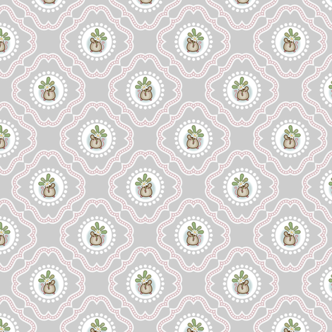 Wind Flower Damask Grey Ditsy fabric by woodmouse&bobbit on Spoonflower - custom fabric