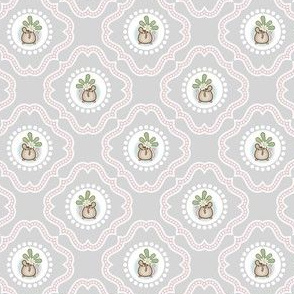Wind Flower Damask Grey Ditsy