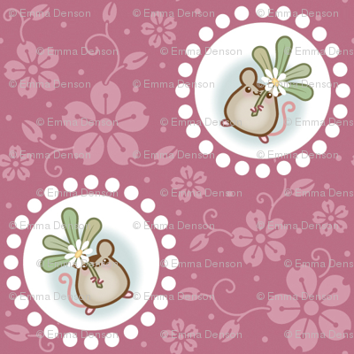 Wind Flower Mouse Dark Pink Large