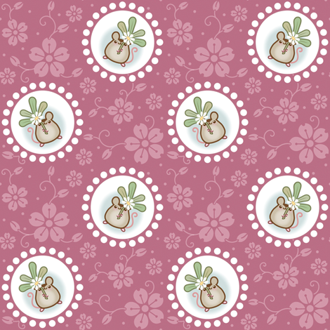 Wind Flower Mouse Dark Pink Large fabric by woodmouse&bobbit on Spoonflower - custom fabric