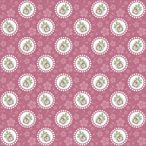 Wind Flower Mouse Dark Pink fabric by woodmouse&bobbit on Spoonflower - custom fabric