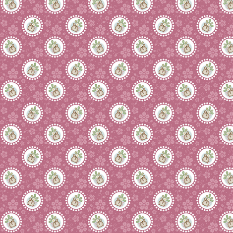 Wind Flower Mouse Dark Pink Ditsy fabric by woodmouse&bobbit on Spoonflower - custom fabric
