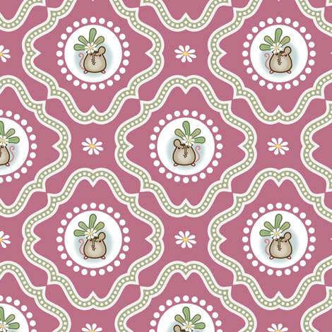 Wind_Flower Damask Dark Pink fabric by woodmouse&bobbit on Spoonflower - custom fabric