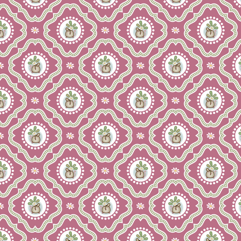 Wind Flower Damask Dark Pink Ditsy fabric by woodmouse&bobbit on Spoonflower - custom fabric