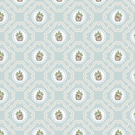 Wind Flower Damask Blue Ditsy fabric by woodmouse&bobbit on Spoonflower - custom fabric