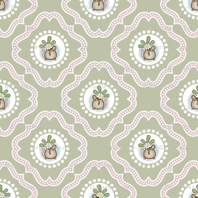 Wind Flower Damask Green Ditsy