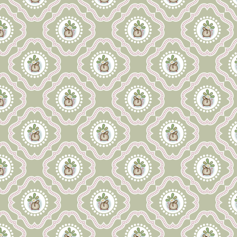Wind Flower Damask Green Ditsy fabric by woodmouse&bobbit on Spoonflower - custom fabric