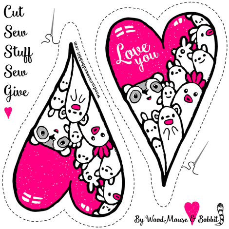 Cut Out & Give Heart 3 fabric by woodmouse&bobbit on Spoonflower - custom fabric