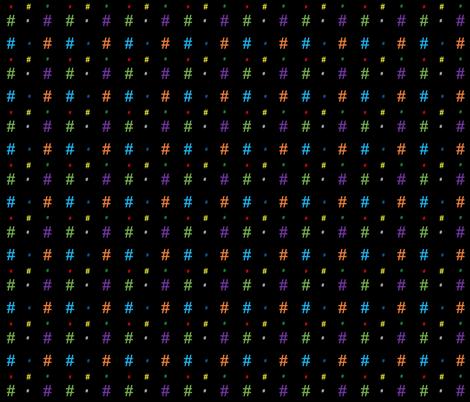 Hashtags (rainbow/multicolor on black) fabric by danamlewis on Spoonflower - custom fabric