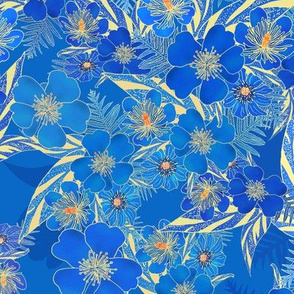 Silky Floral Royal Blue 300