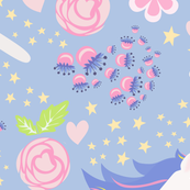Unicorn Floral blue violet and pink bright pastel