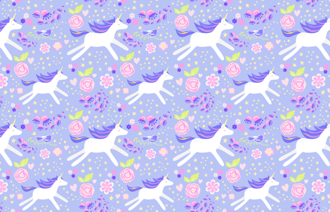unicorn floral lavender and violet  fabric by mainsail_studio on Spoonflower - custom fabric