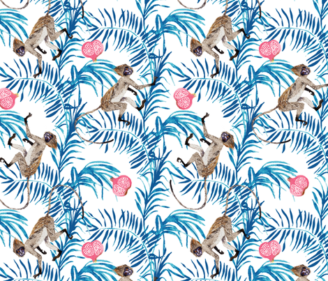 Fruity Monkeys (blue + white) fabric by nouveau_bohemian on Spoonflower - custom fabric