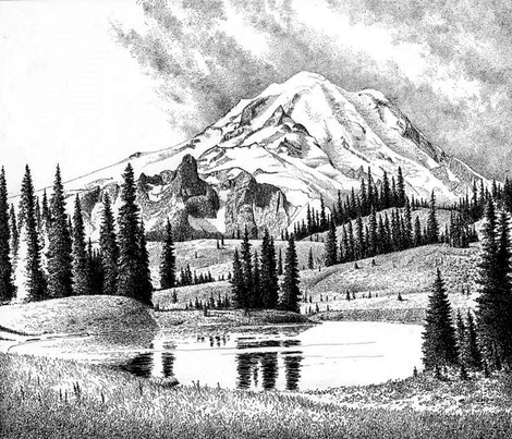 mount rainier 1- washington - toile fabric by stofftoy on Spoonflower - custom fabric