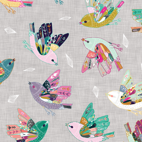 Joy Flight (linen) fabric by nouveau_bohemian on Spoonflower - custom fabric