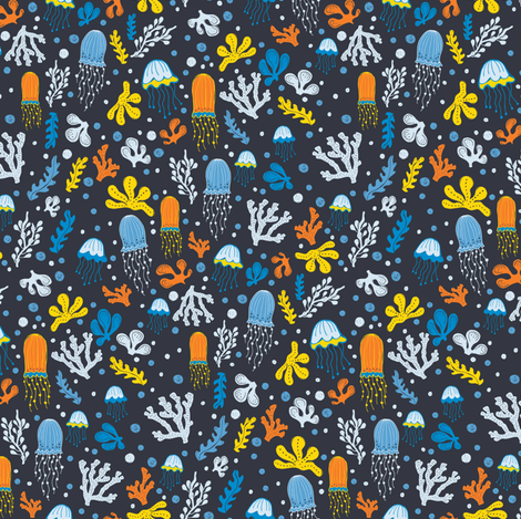 Jelly Fish fabric by jacquelinehurd on Spoonflower - custom fabric