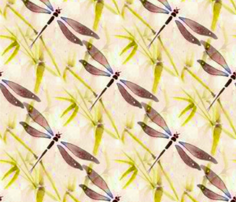 Oriental Dragonfly fabric by floramoon on Spoonflower - custom fabric