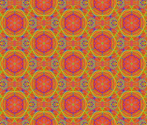 Grandma's Garden Gems on Tangerine - Large Scale fabric by rhondadesigns on Spoonflower - custom fabric