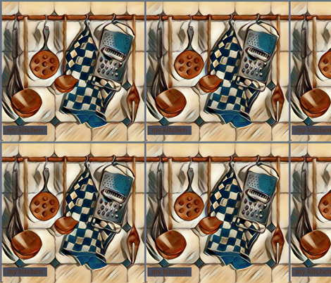 Farmhouse Kitchen Copper & Blue  fabric by floramoon_designs on Spoonflower - custom fabric