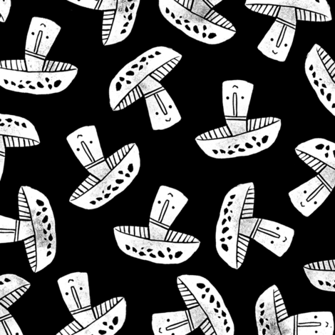 Block Print Monochrome Scattered Mushrooms - white on black fabric by tonia_dee on Spoonflower - custom fabric