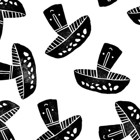 Block Print Monochrome Scattered Mushrooms black on white fabric by tonia_dee on Spoonflower - custom fabric