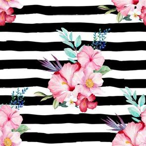 "9"" Surfer Girl Florals / Black & White Stripes"