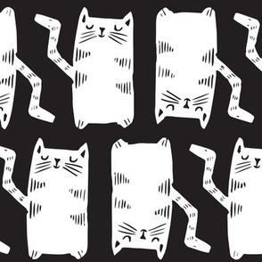 Block Print Monochrome Kitty Cats white on black