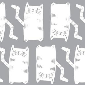 Block Print Monochrome Kitty Cats white on grey