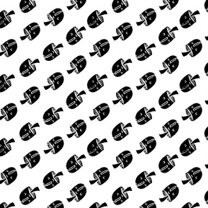 Block Print Monochrome Diagonal Mushrooms black on white
