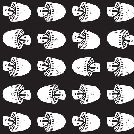 Block Print Monochrome Mushrooms fabric by tonia_dee on Spoonflower - custom fabric