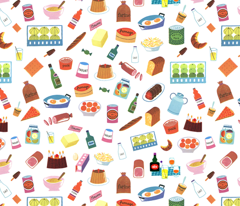 Alain Gree All About Food - From Vintage illustration - White Background fabric by ricobel on Spoonflower - custom fabric