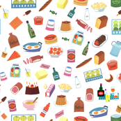 Alain Gree All About Food - From Vintage illustration - White Background
