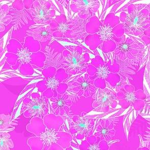 Silky Floral Magenta Aqua 300