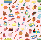Alain Gree All About Food - From Vintage illustration - Pink Background