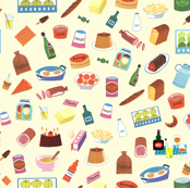 Alain Gree All About Food - From Vintage illustration - Yellow Background