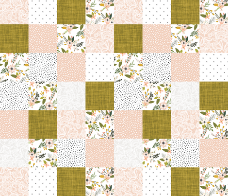 blush sprigs and mustard patchwork wholecloth fabric by ivieclothco on Spoonflower - custom fabric