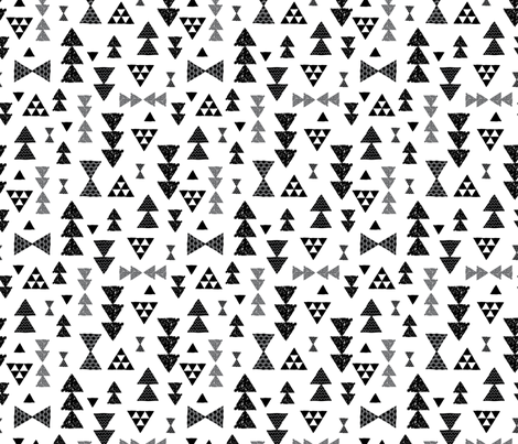 Geometric gender neutral bow tie and triangle tribal illustration pattern for boys or home decor Black and white fabric by littlesmilemakers on Spoonflower - custom fabric